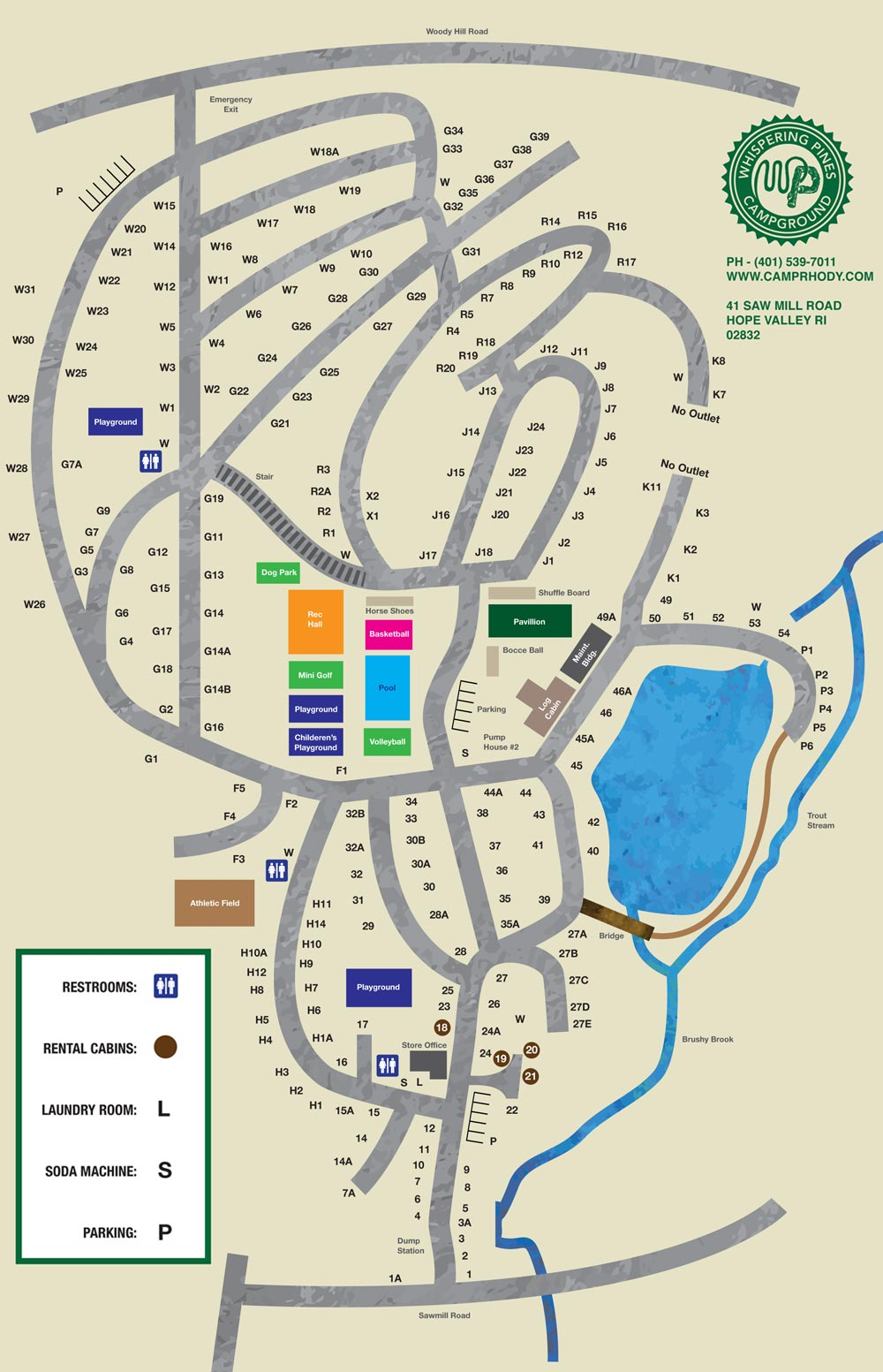 Whispering Pines Camping Rhode Island Map